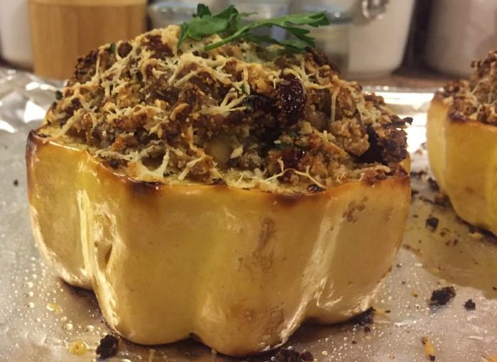 Turkey & Cranberry Stuffed Acorn Squash Recipe