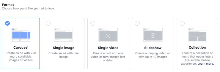 formatos facebook ads
