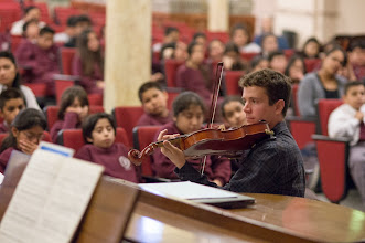 Photo: Violist Matt Young at DeMarillac Academy