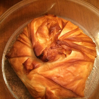 Phyllo Wrapped Baked Brie with Red Pepper Jelly.