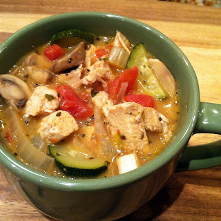 Sauteed Chicken, Mushroom and Zucchini Soup.