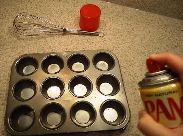 spray your muffin pan with olive oil pam i mean spray all the inside...