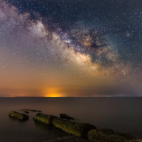 One night at Potokaki beach by Grigoris Koulouriotis - Landscapes Starscapes ( night photography, stars, sea, rocks, nightscape, galaxy, milky way,  )