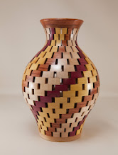 "Photo: Mike Twenty 6 3/4"" x 10 1/4"" open segmented vase [maple, pauduk, yellow heart, purple heart]"
