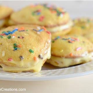 Cake Batter Ice Cream Whoopie Pies {Make Bake Create #11}.