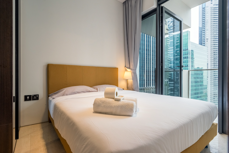 Luxury bedroom at Robinson Rd Apartments, Singapore