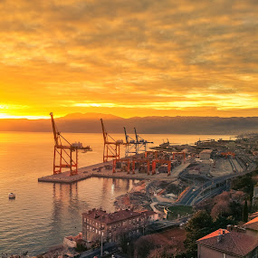 Rijeka harbor by Goran Grudić - Transportation Other ( port, rijeka, cranes, harbor, croatia )