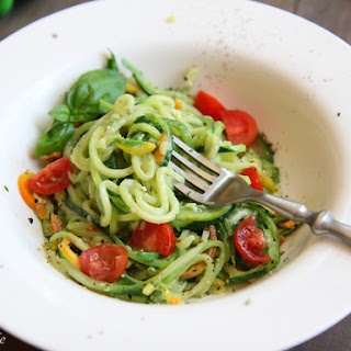 Zoodles with Avocado Basil Pesto and Summer Farmer's Market Tomatoes
