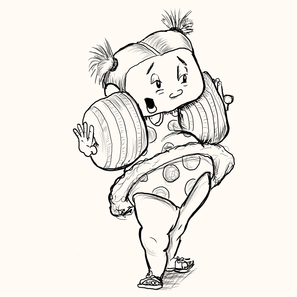 black and white cartoon drawing of toddler girl in bathing suit and giant floaties that make her arms stick out to the side.