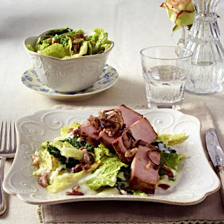Smoked Ham with Creamy Cabbage and Bacon