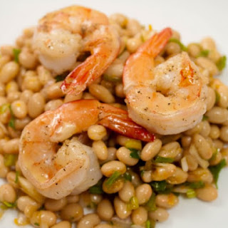 Seared Shrimp with White Beans and Tangerine.