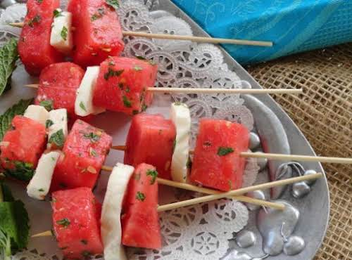 "Watermelon Mozzarella Salad ""I made this for a family picnic and I..."