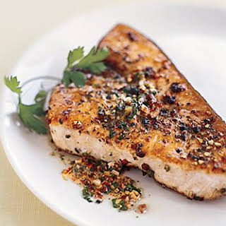 Pan-Roasted Swordfish Steaks with Mixed-Peppercorn Butter recipe | Epicurious.com.