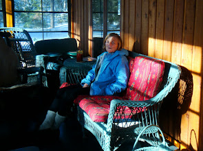 Photo: It was so sunny Mandy wanted to have our evening drink on the front porch, even though it was a bit chilly.
