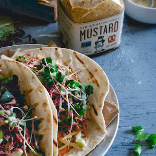 Corned Beef Tacos with Creamy Spicy Mustard Sauce.