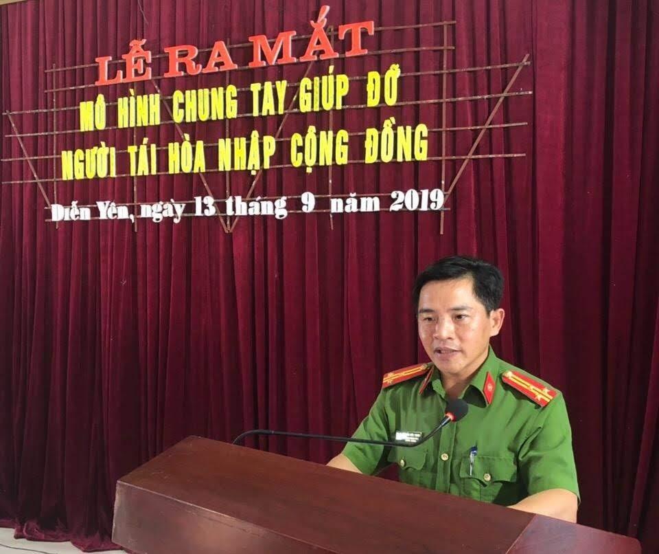 Thượng tá Nguyễn Hữu Thịnh, Trưởng phòng Cảnh sát thi hành án hình sự và hỗ trợ tư pháp Công an tỉnh phát biểu tại Lễ ra mắt mô hình.