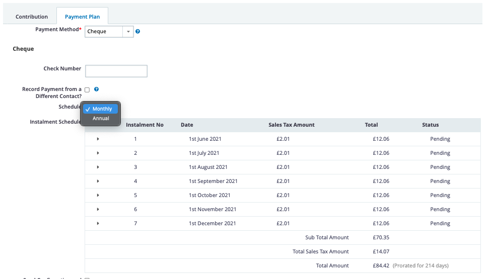 Screenshot showing the payment plan tab under 'Contributions & Payment Plan' heading on the 'Add Membership' screen for fixed memberships on MAE v5
