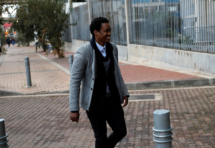 Duduzane Zuma arrives at the Johannesburg Central police station earlier. Picture: ALON SKUY