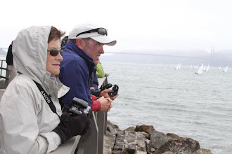 Photo: Wrapped up warm to watch the boats.