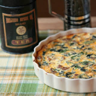 Healthy Low Fat Turkey Sausage, Cheese and Kale Quiche with Spaghetti Squash Crust.