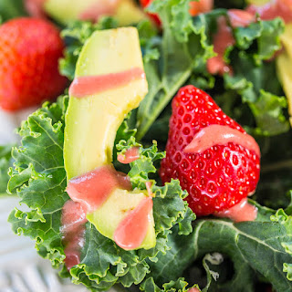 Strawberry, Avocado, and Kale Salad with Strawberry-Apple Cider Vinaigrette.