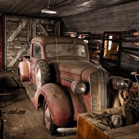 Palouse Welding and Machine Shop by Shaun Schlager - Transportation Automobiles ( palouse, washington, 1930s, classic cars, barn, truck, ram, 1940s, cars, dodge, wa, abandoned,  )