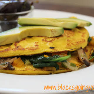 Eggless Vegan Omelette With Mushrooms and Spinach.