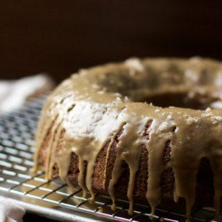 Spiced Applesauce Bundt Cake with Salted Caramel Glaze (gluten free, grain free, dairy free, soy free, vegan, paleo friendly).