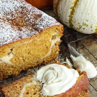 Pumpkin Bread with Cream Cheese Swirl.