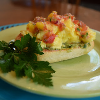 Scrambled Egg Bruschetta with Hot Pepper Spread