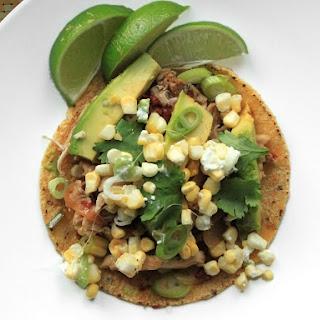Spicy Chicken Tacos With Corn, Feta, and Avocado.
