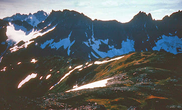 Photo: 26. View over Cascade Pass from Sahale arm, looking south toward the Triplets and Mt. Johannesburg.
