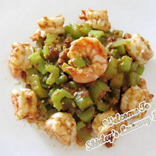 Spicy Celery Prawns, Happy Call