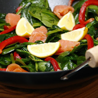 Smoked Salmon with a Spinach Saute.