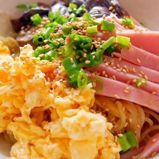 Eggplant, Ham and Egg Hiyashi Chuka (Chilled Chinese Noodles)