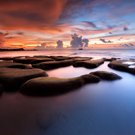 In my dream by Christianto Mogolid - Landscapes Sunsets & Sunrises ( sky, dawn, sunset, moss, sea, beach, landscape, dusk, rocks, borneo, sabah, sescape )