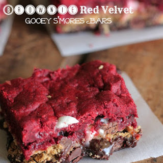Brownie Red Velvet Gooey S'mores Bars