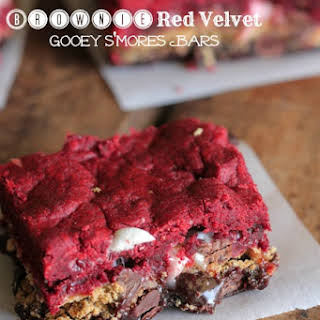 Brownie Red Velvet Gooey S'mores Bars.