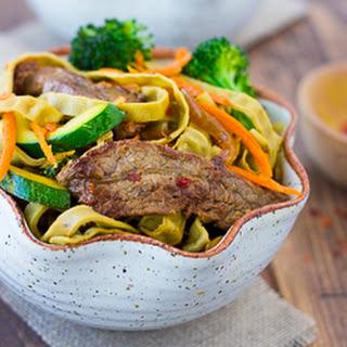 Beef & Vegetable Mung Bean Noodle Bowls {Gluten-Free}.