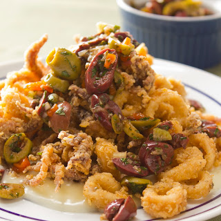Kicked Up Fried Calamari with Creole Olive Salad