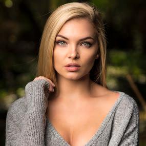 Melissa by Michal Challa Viljoen - People Portraits of Women ( blonde, headshot, nature, female, blue eyes, grey, wool, bokeh, portrait, eyes,  )