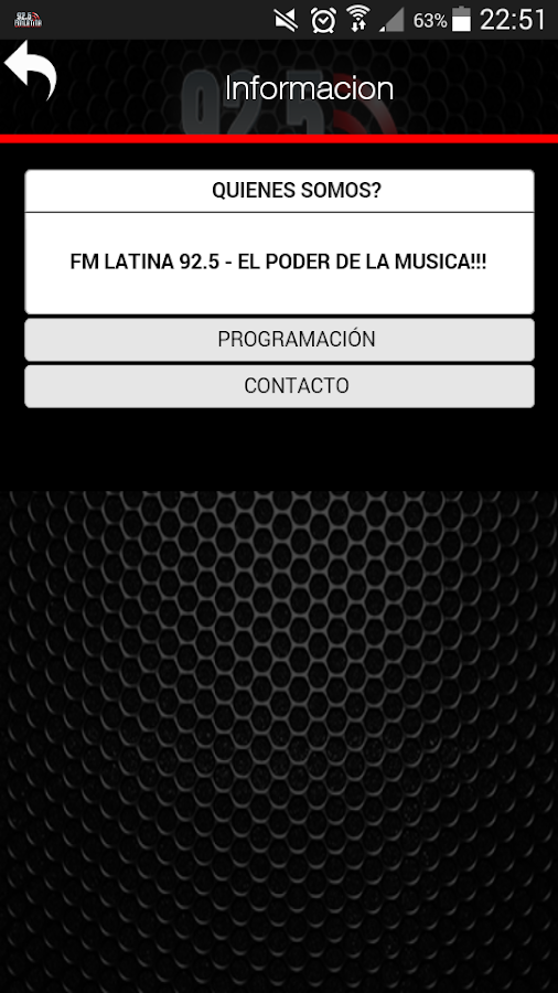 FM LATINA 92.5: captura de pantalla