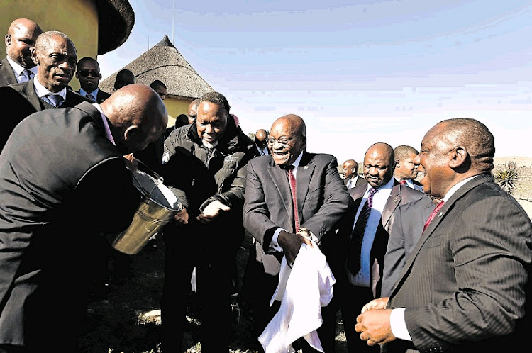 President Cyril Ramaphosa, together with former presidents Jacob Zuma and Kgalema Motlanthe, plant trees at Komkhulu, the royal house of Mandela, in Mvezo yesterday.
