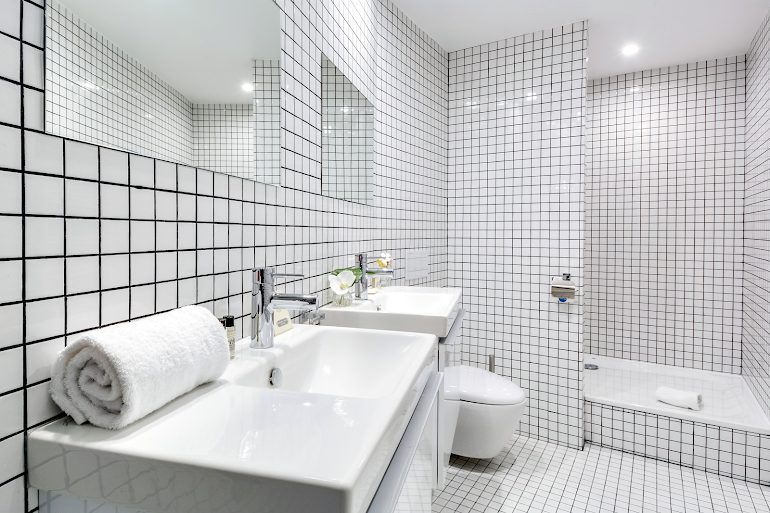 Luxury bathroom at Berthe Serviced Apartment, Montmartre