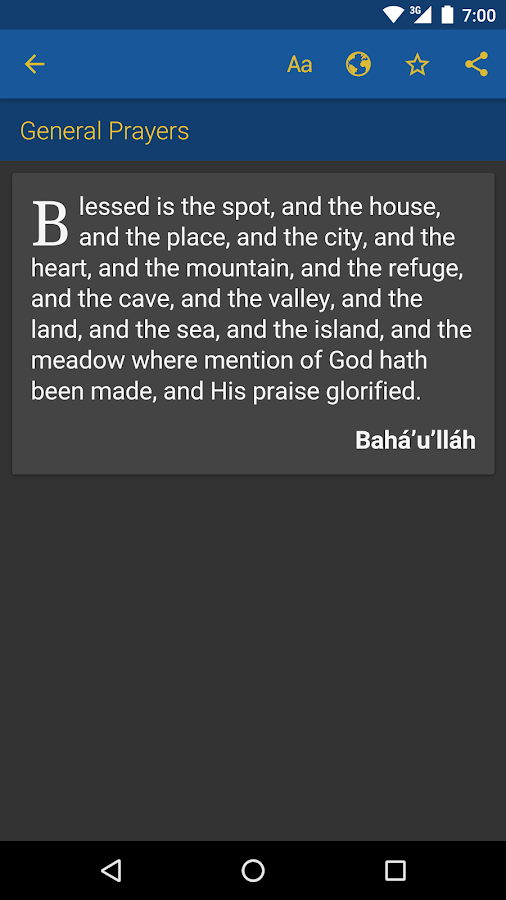 Baha'i Prayers- screenshot