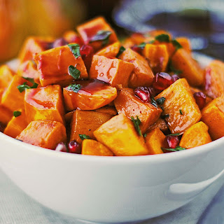 Roasted Sweet Potatoes with Spiced Pomegranate Molasses.