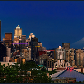 Seattle in the Blue Hour by Judy Rosanno - City,  Street & Park  Skylines ( space needle, big wheel, seattle, skyline, blue hour, mount rainier,  )