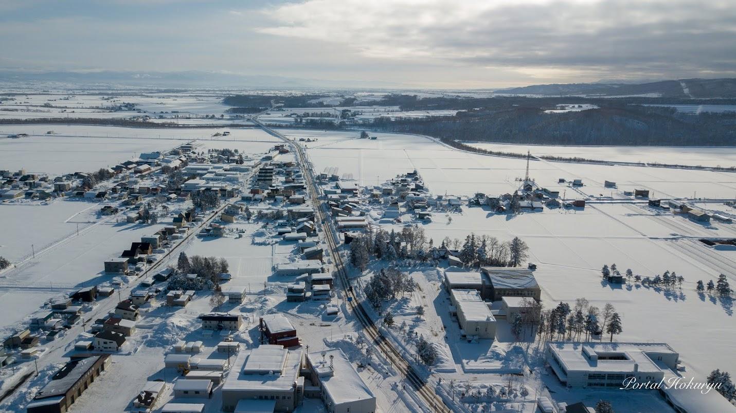北竜町冬景色ドローン撮影:和市街地を望んで