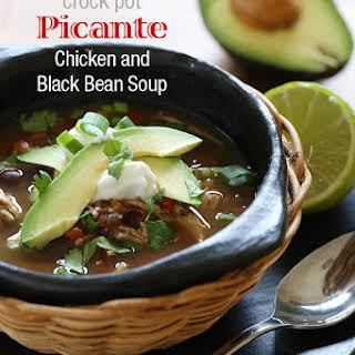 Crock Pot Picante Chicken and Black Bean Soup.