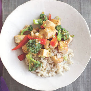 Tofu and Cashew Stir-Fry Over Basmati Rice